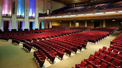 Photo of Teatro UPR's audience section, seats empty